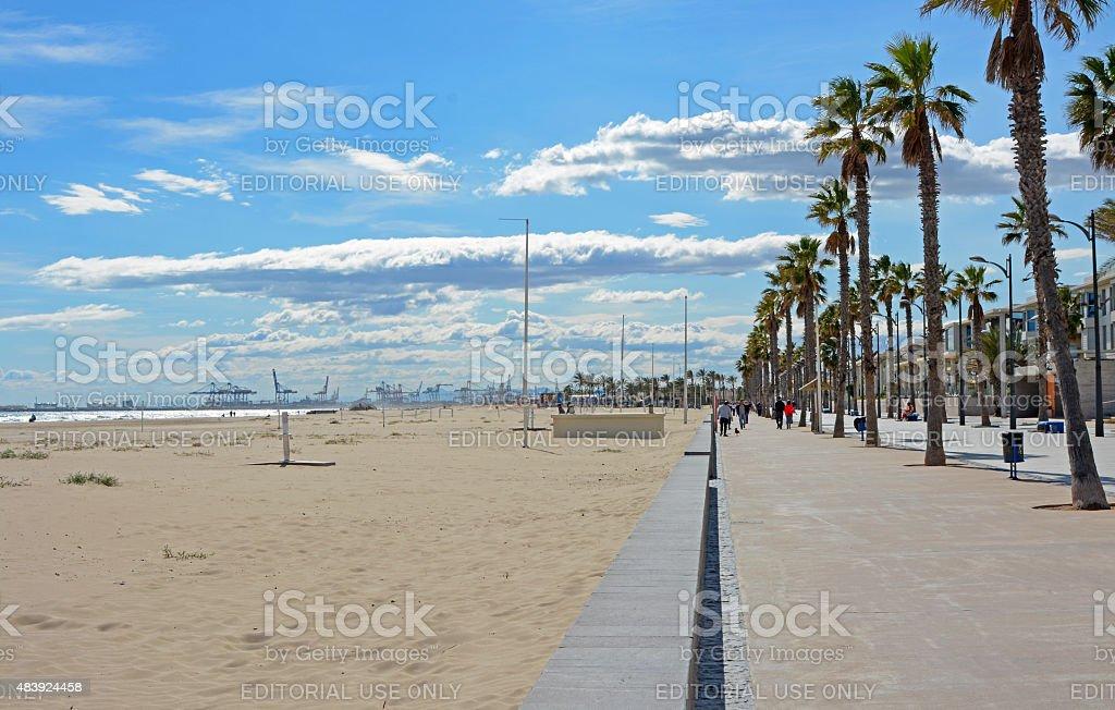 Malvarrosa beach at Valencia. Spain stock photo