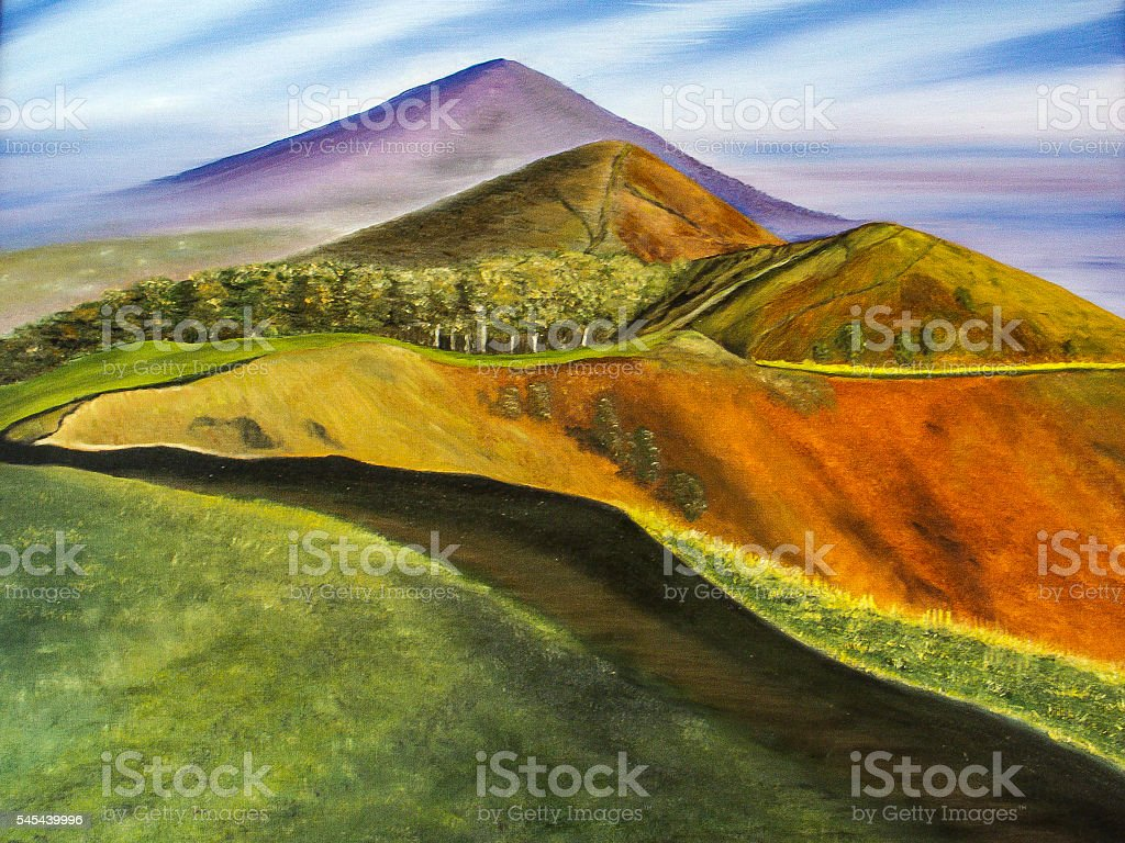Malvern Hills Worcester painting across the top of the hills stock photo