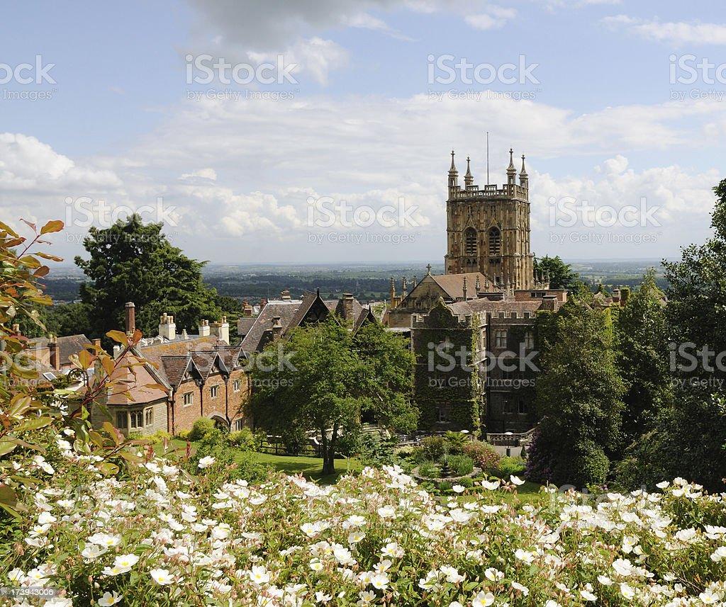Malvern Priory and Hotel stock photo