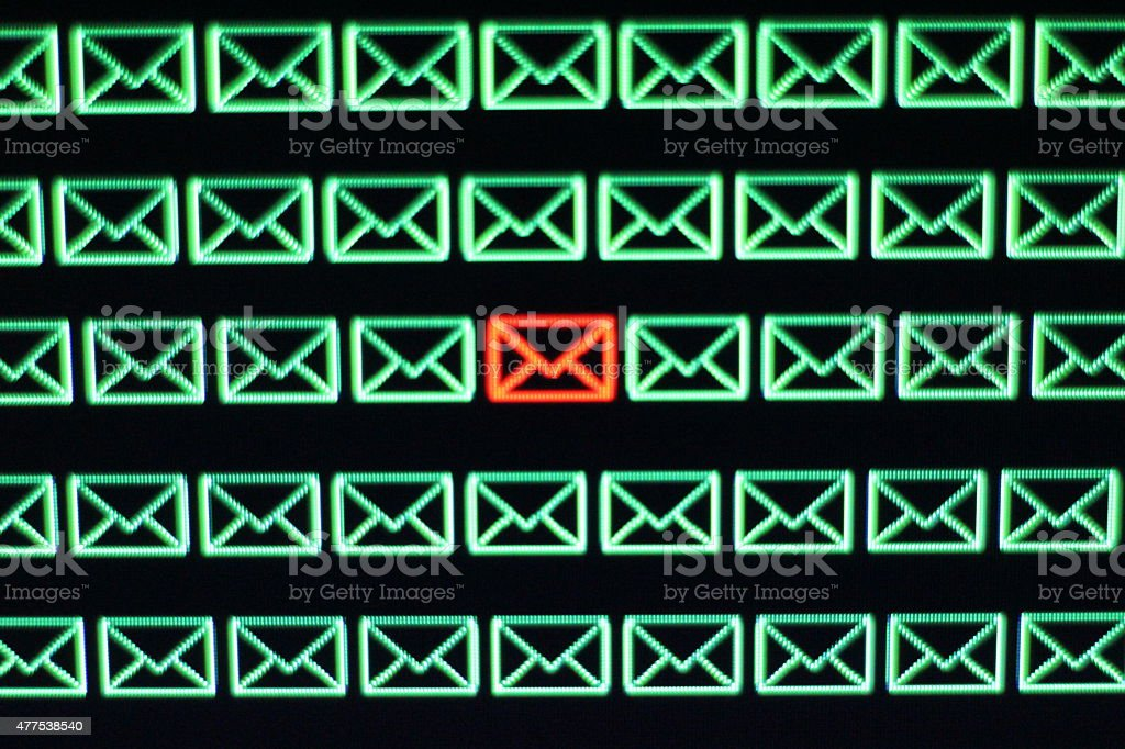 Malware infected Email account stock photo