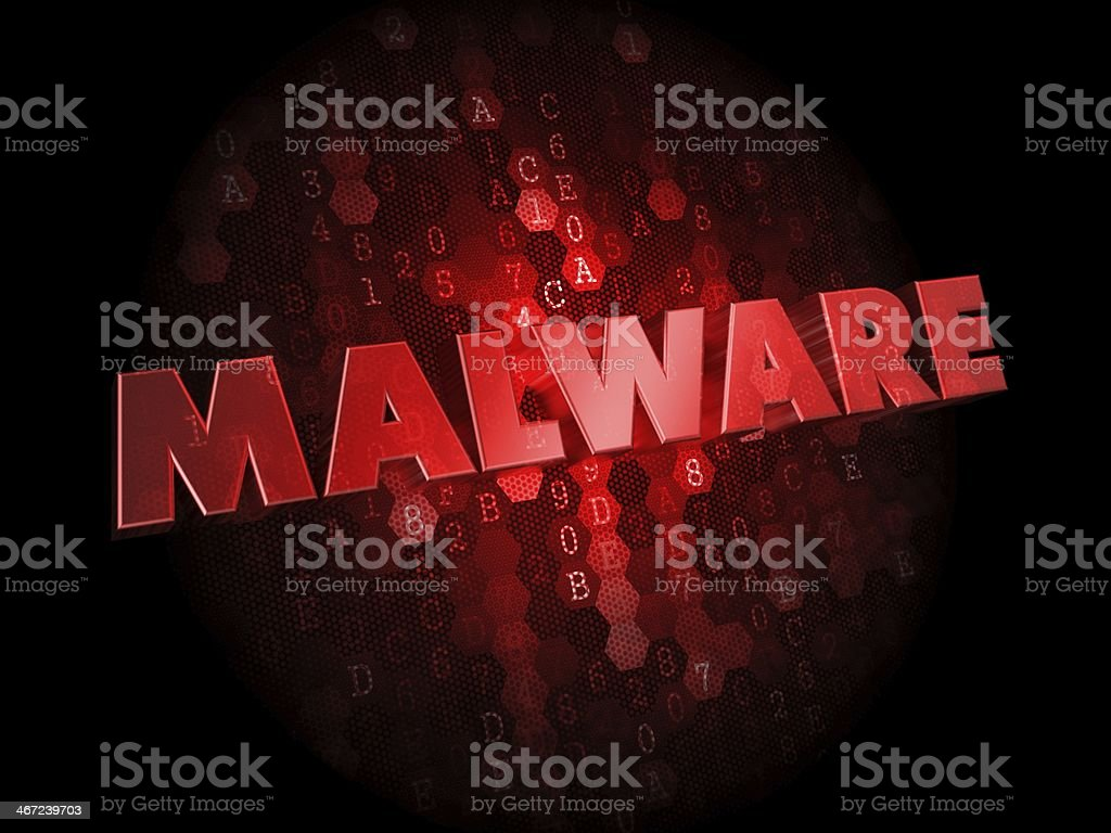 Malware on Dark Digital Background. stock photo