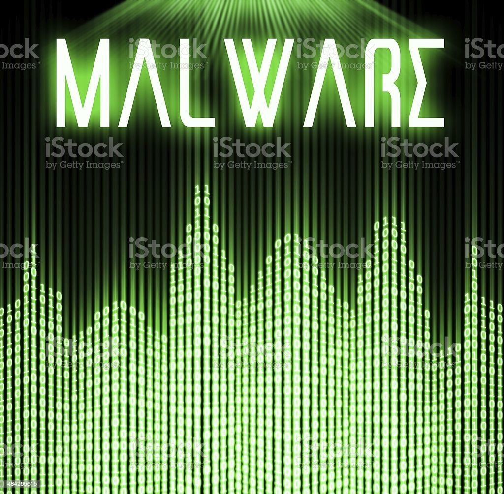Malware with cyber binary code technology stock photo