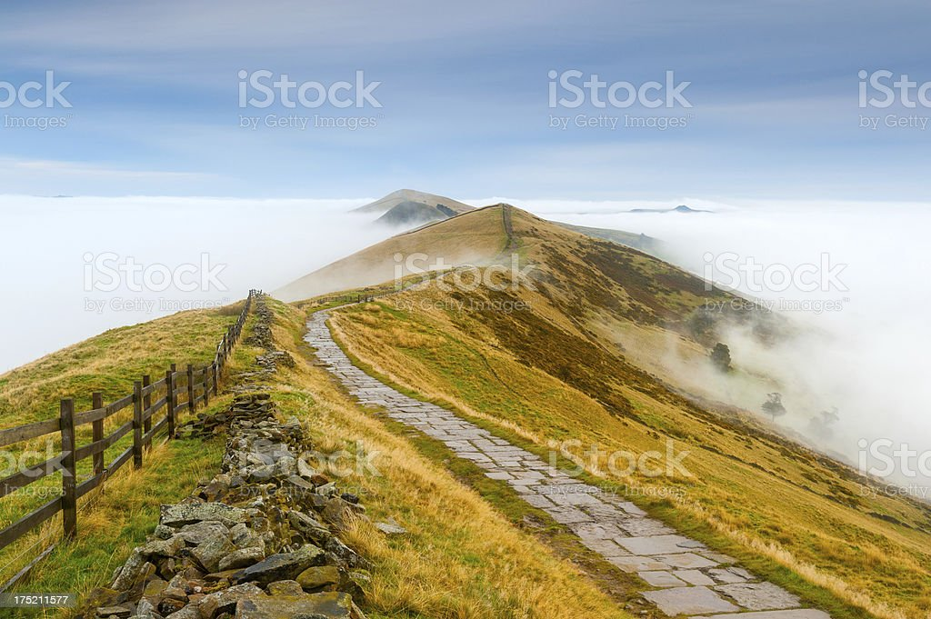 Mam Tor Temperature Inversion, Peak District National Park royalty-free stock photo