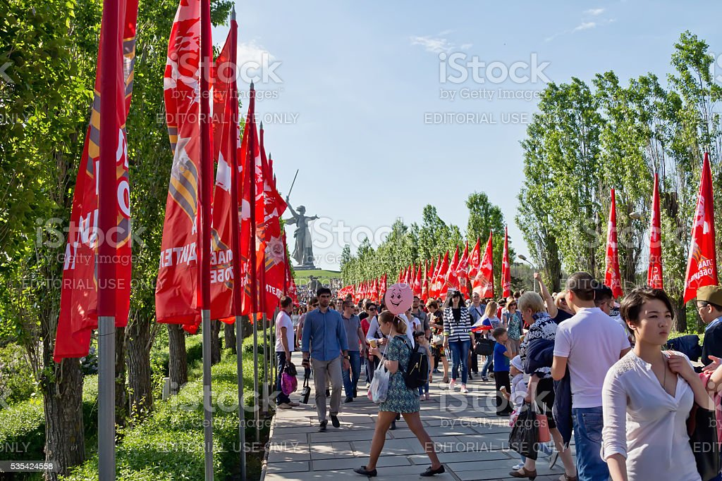 Mamaev Kurgan on the anniversary of victory day stock photo
