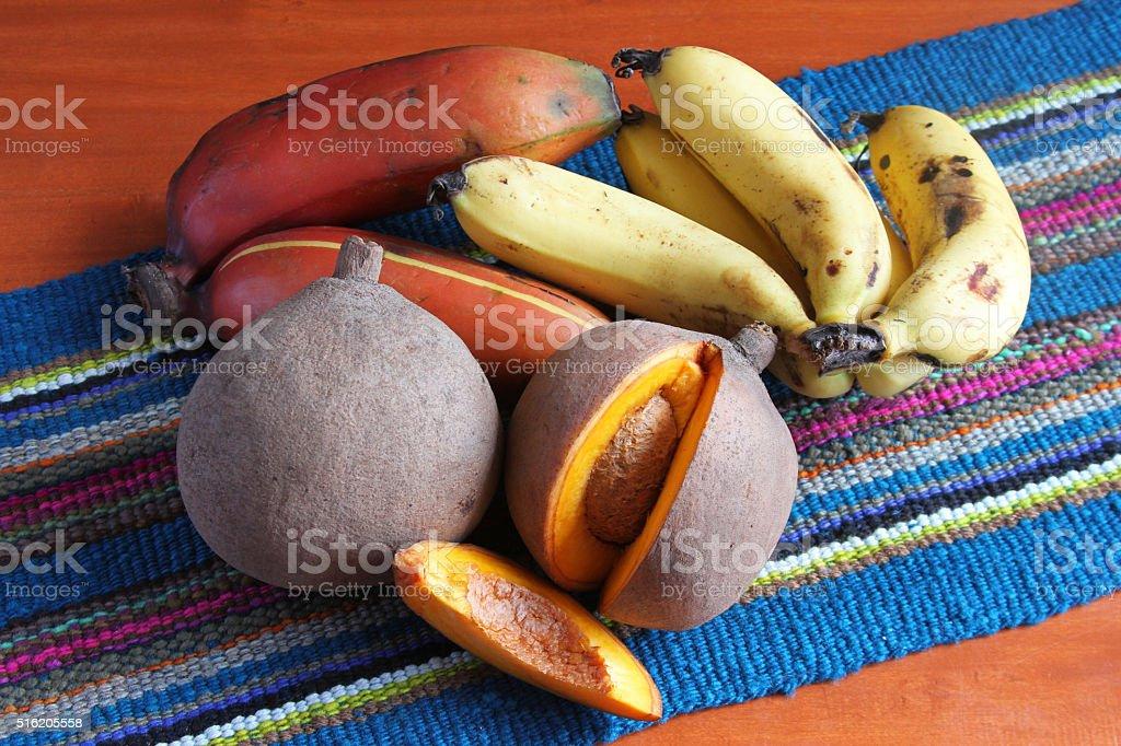 Mamey Fruit with Bananas stock photo