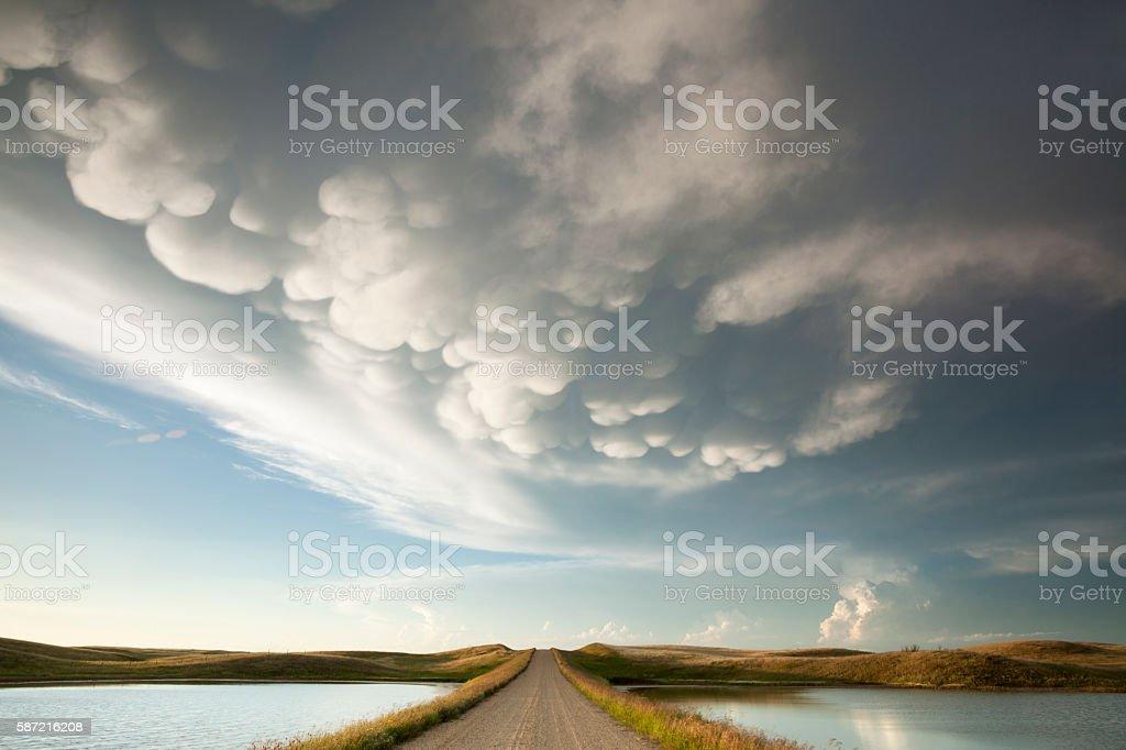 Mammatus Storm Clouds Saskatchewan stock photo