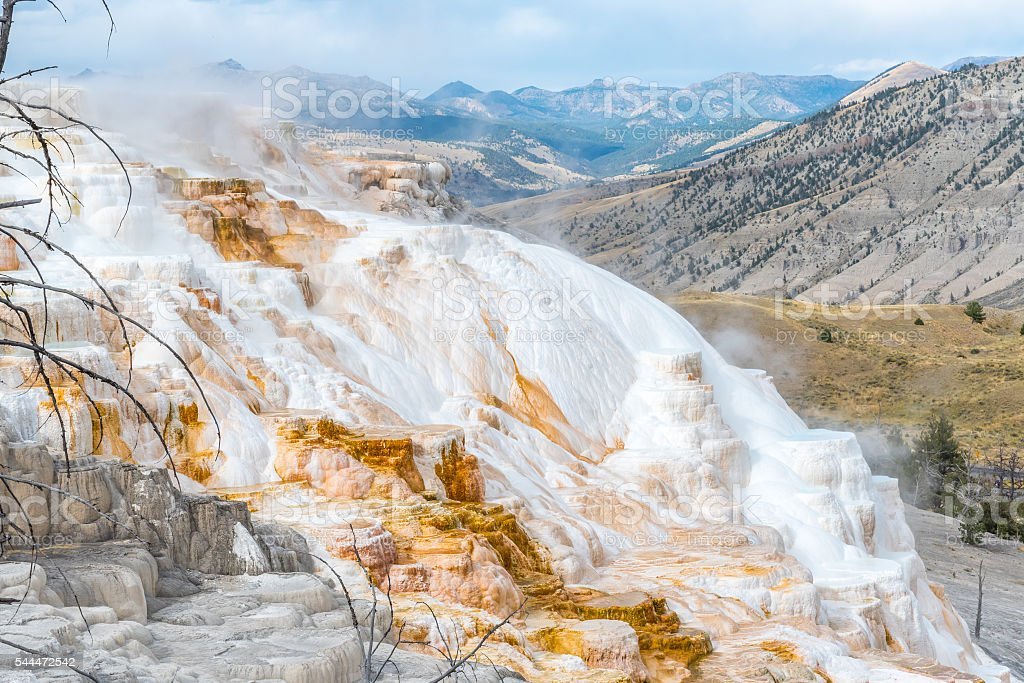 Mammoth Hot Spring in Yellowstone National Park, Wyoming stock photo