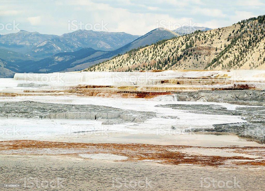 Mammoth Hot Springs paesaggio foto stock royalty-free