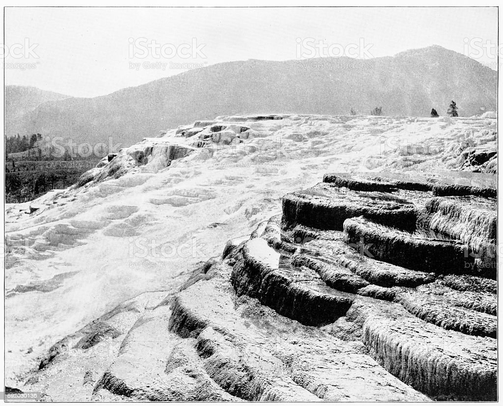 Mammoth Hot Springs Yellowstone National Park, USA in 1880s stock photo