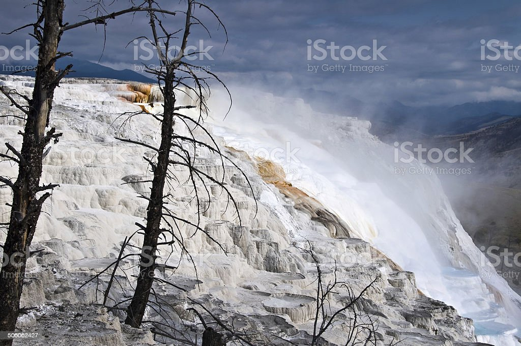 Mammoth hot springs, Yellowstone National Park, USA stock photo