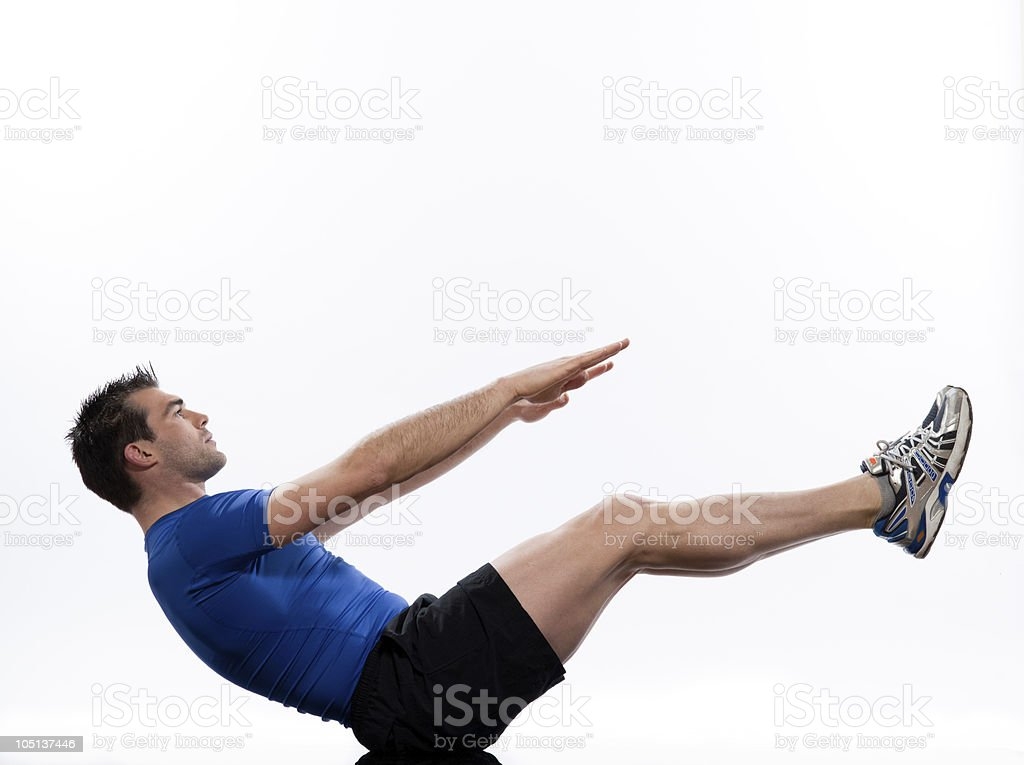 Man Abdominals Body paripurna navasana boat pose yoga royalty-free stock photo