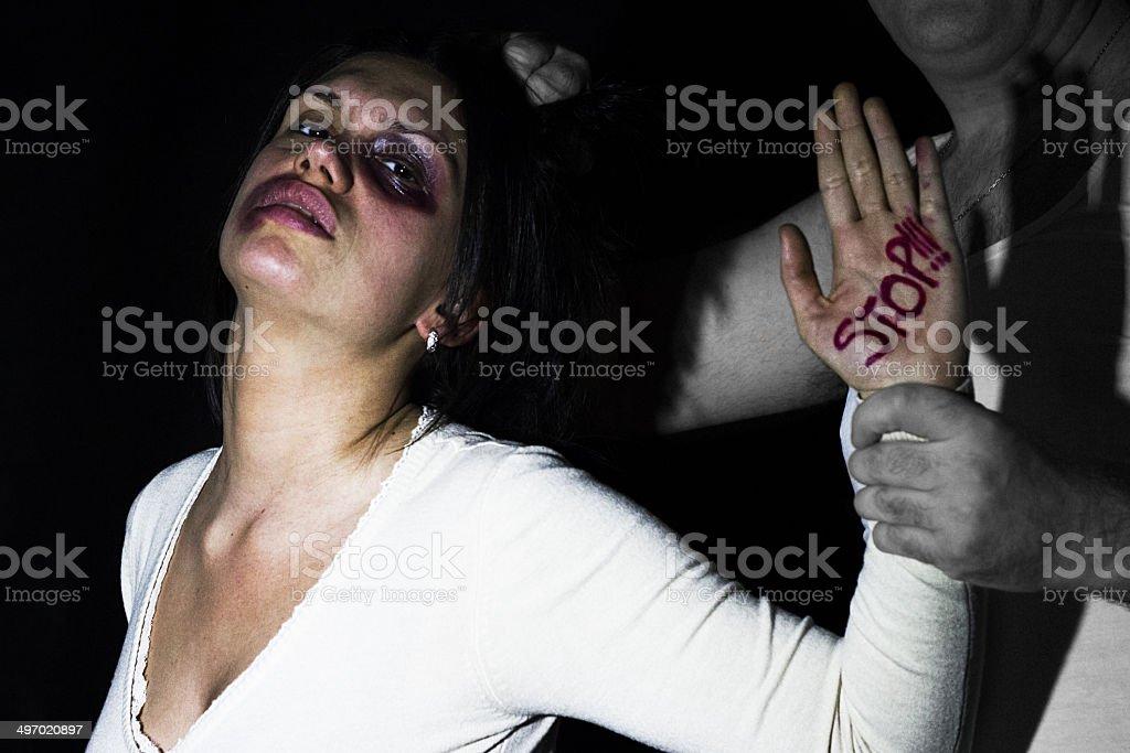 Man abusing woman 2 stock photo