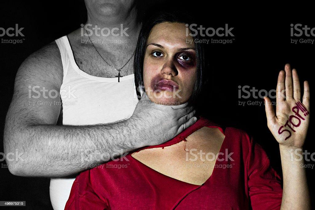 Man abusing woman 3 stock photo