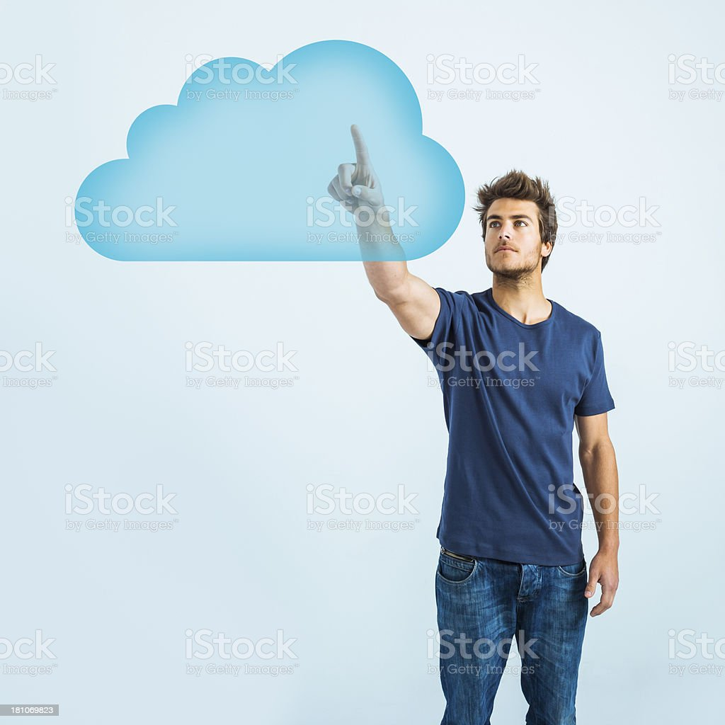 Man accessing cloud computing system royalty-free stock photo