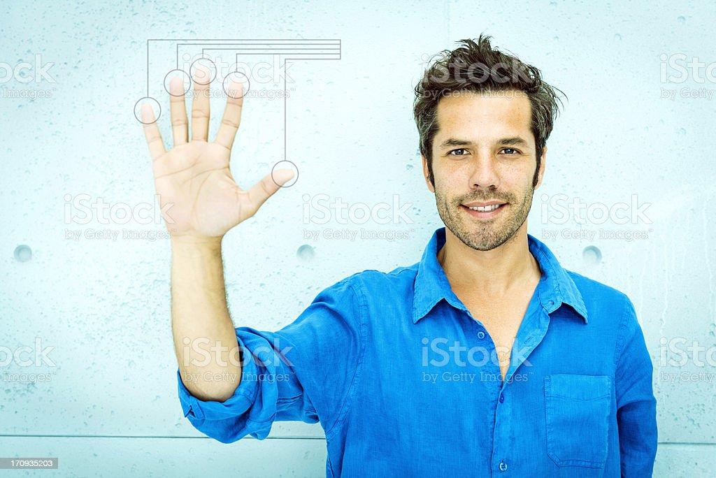 Man accessing virtual computing system royalty-free stock photo