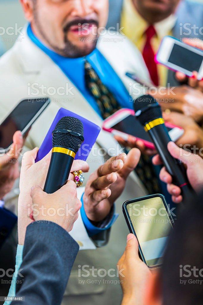 Man addresses the media stock photo
