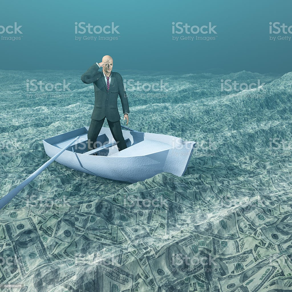 Man afloat in tiny boat on sea of currency stock photo