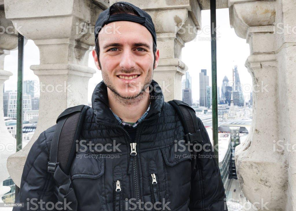 man against the london skyline stock photo