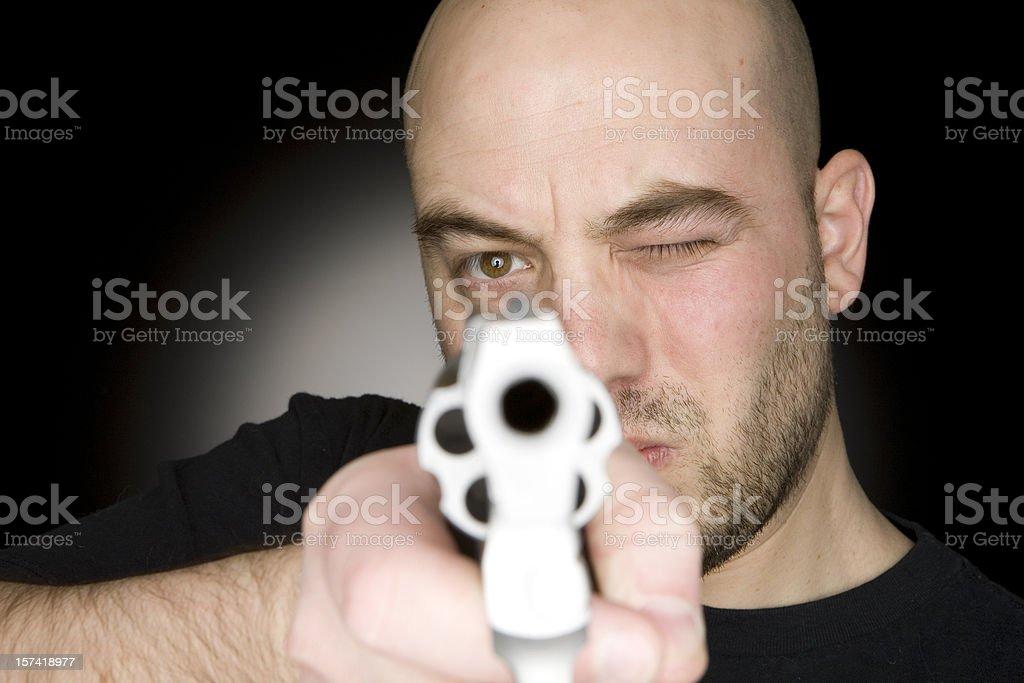 Man Aiming Gun royalty-free stock photo