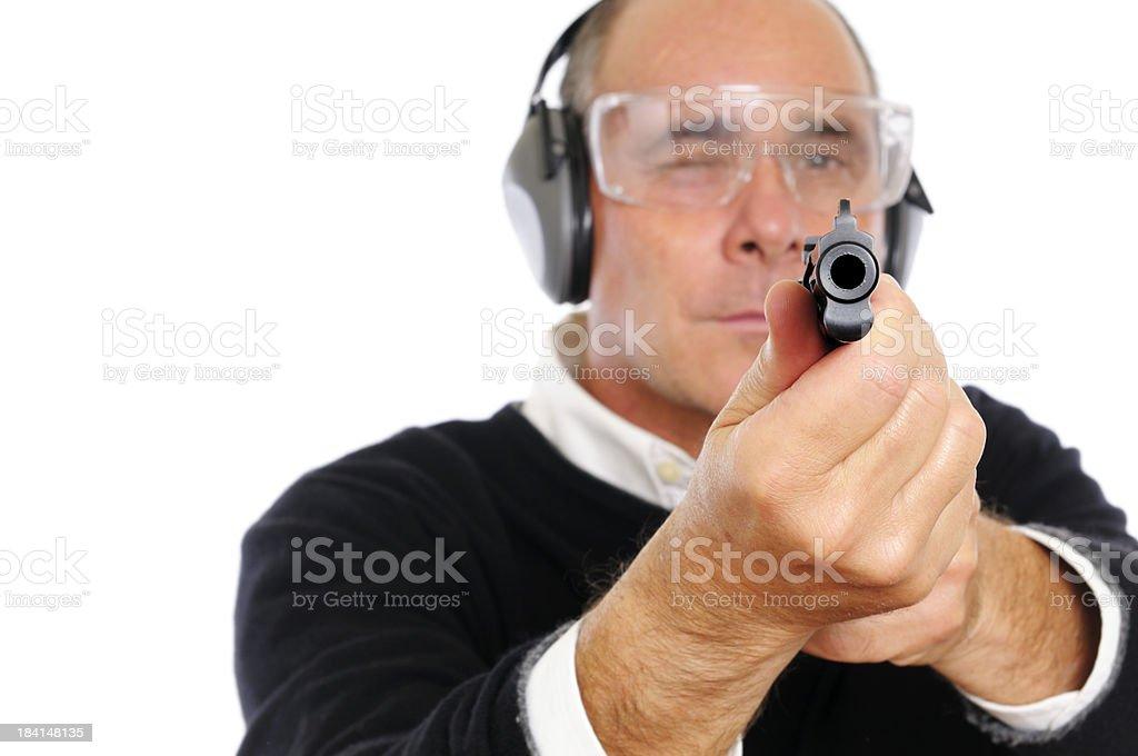 Man Aiming Gun Portrait.Isolated royalty-free stock photo