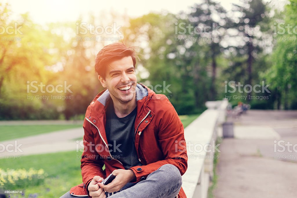 Man among nature stock photo