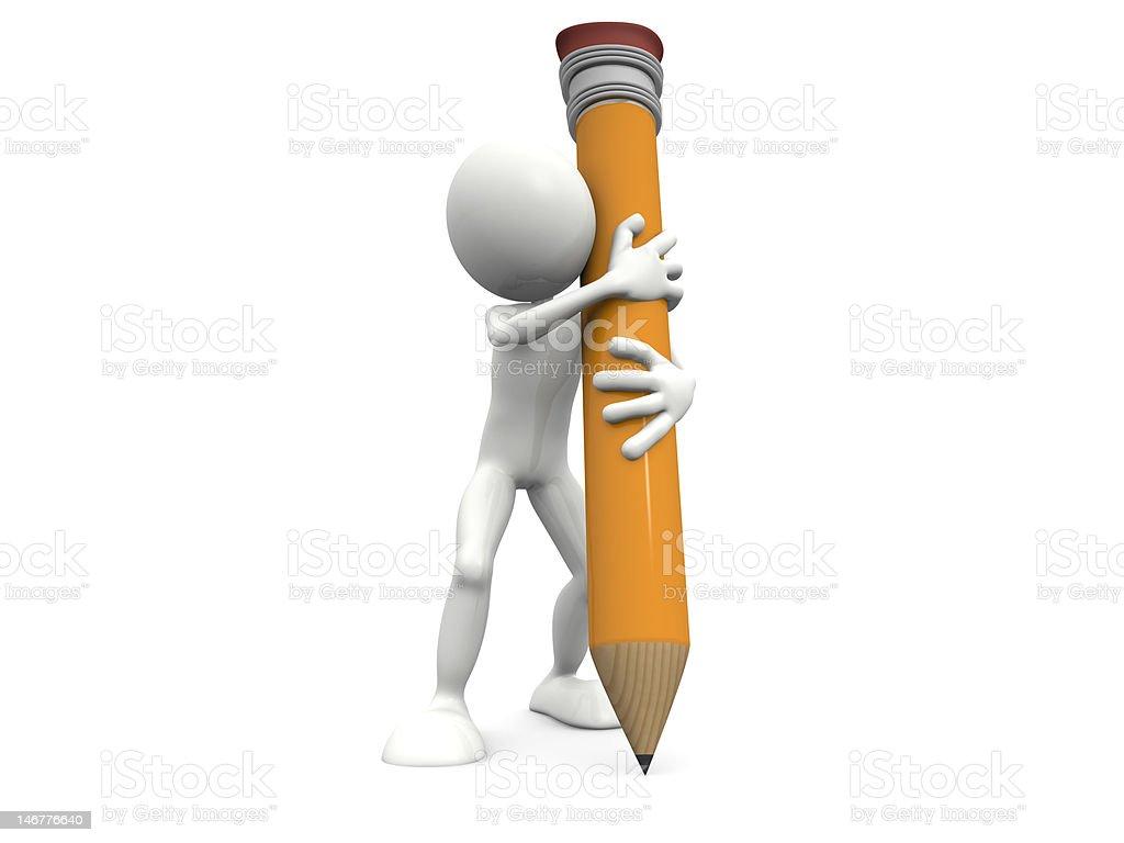 Hombre y una gran lápiz foto de stock libre de derechos