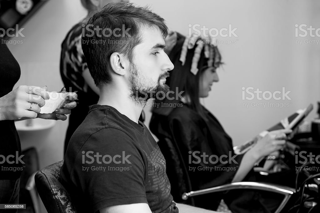 Man and barber stock photo