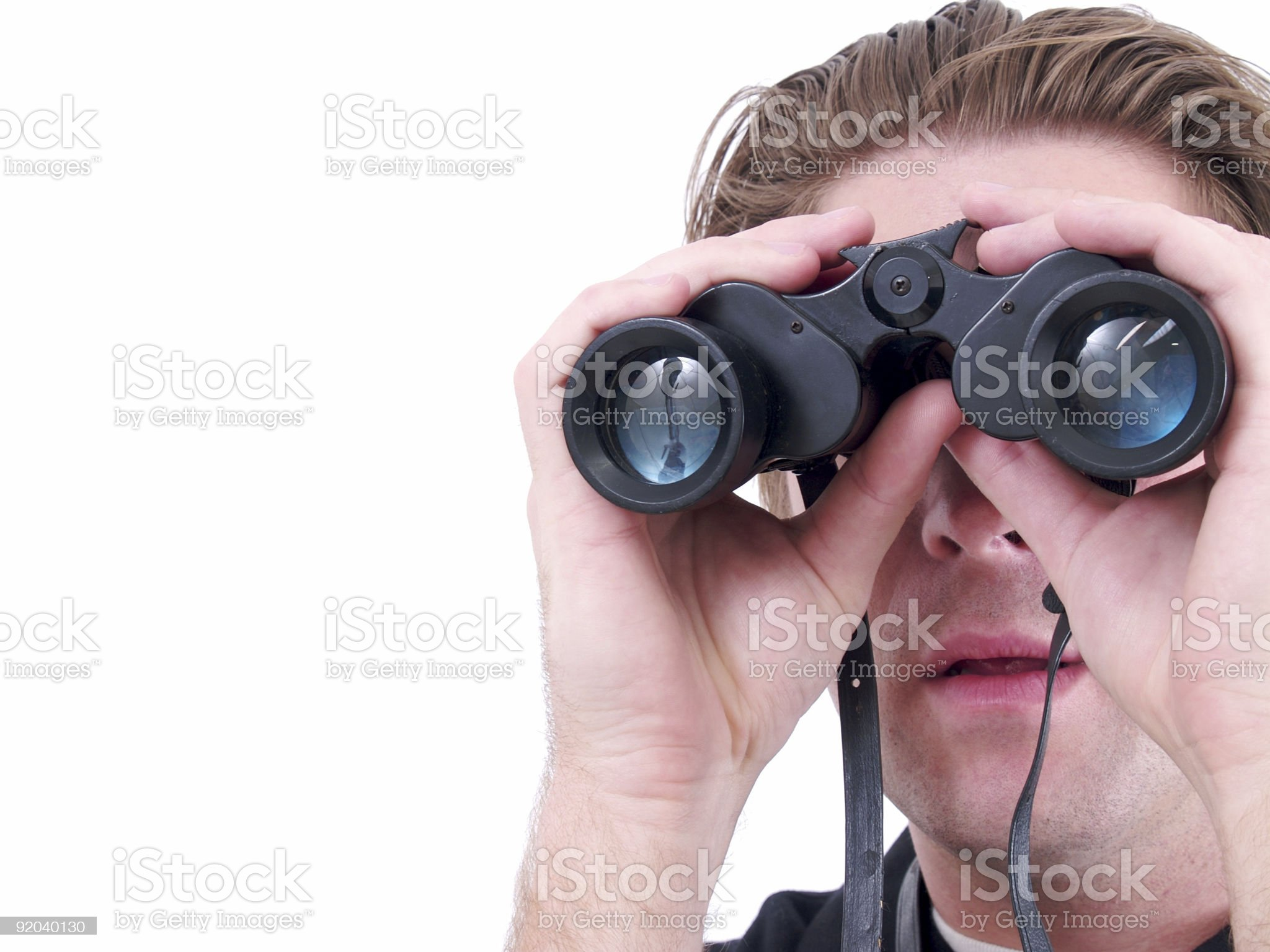 Man and Binoculars royalty-free stock photo