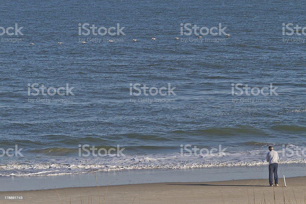 Man and Birds Fishing royalty-free stock photo