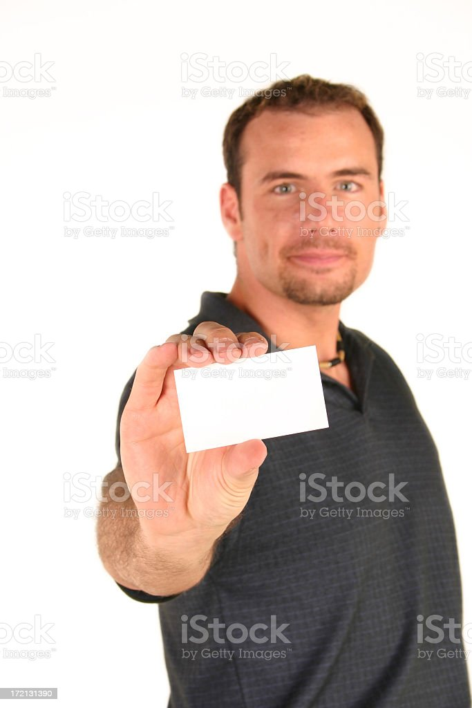 Man and blank business card stock photo