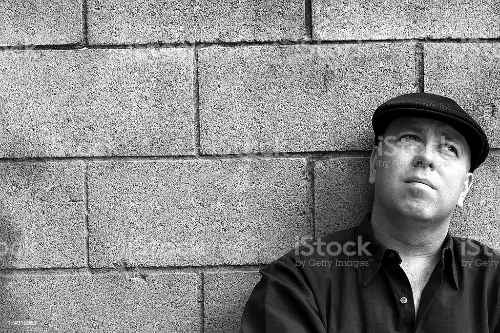 Man and Block Wall royalty-free stock photo