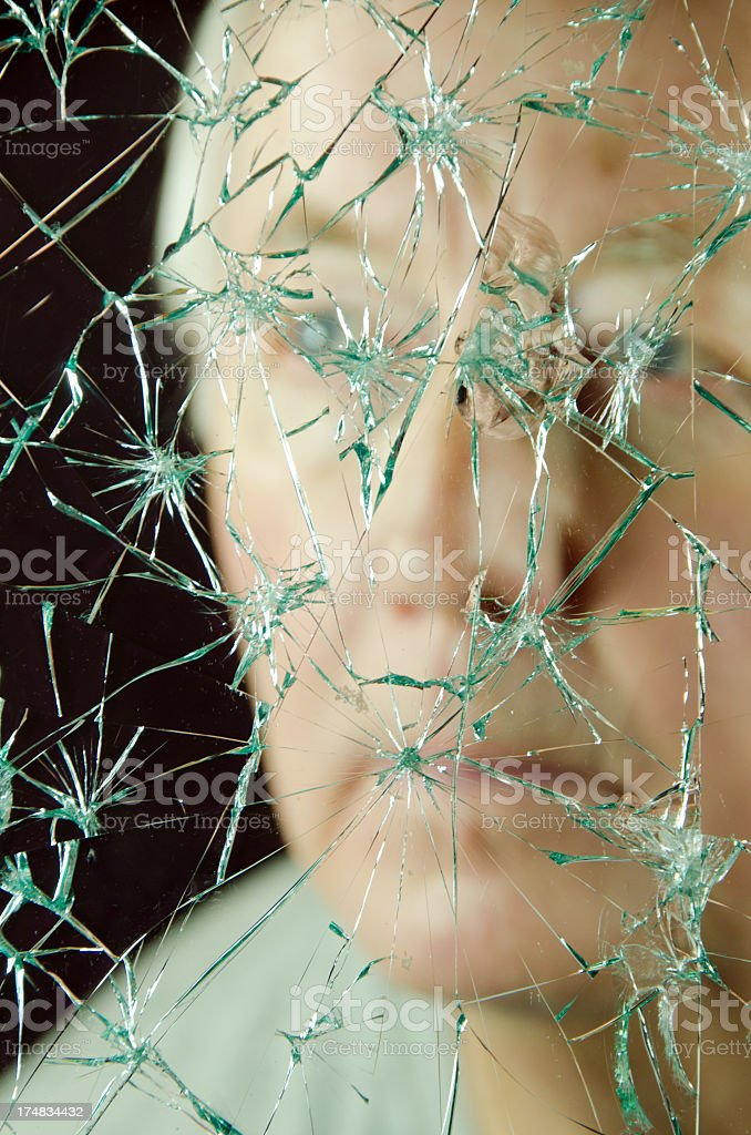 Man and Broken Glass royalty-free stock photo