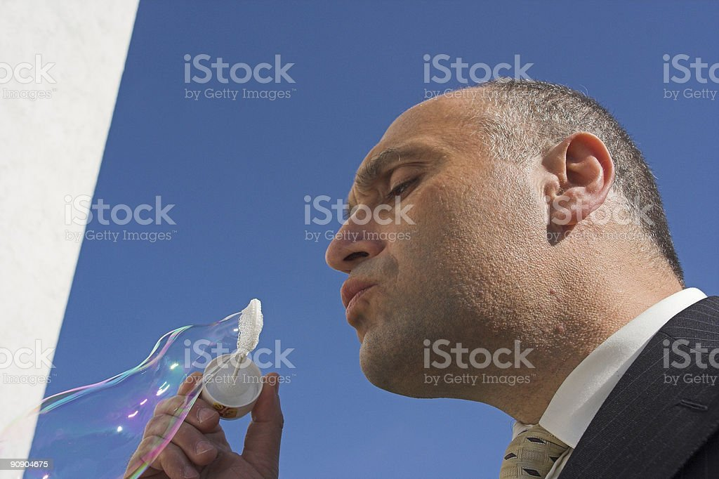Man and Bubble royalty-free stock photo
