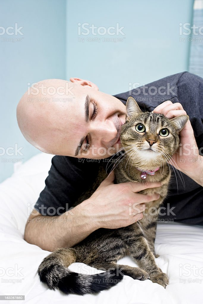 Man and Cat royalty-free stock photo