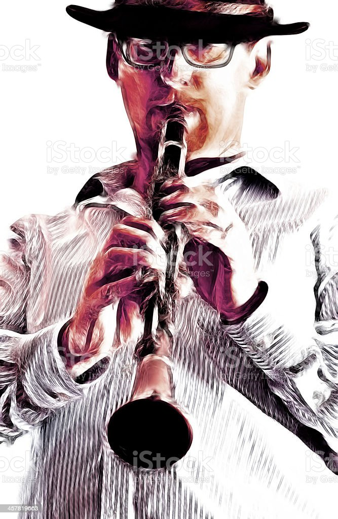 Man and Clarinet stock photo