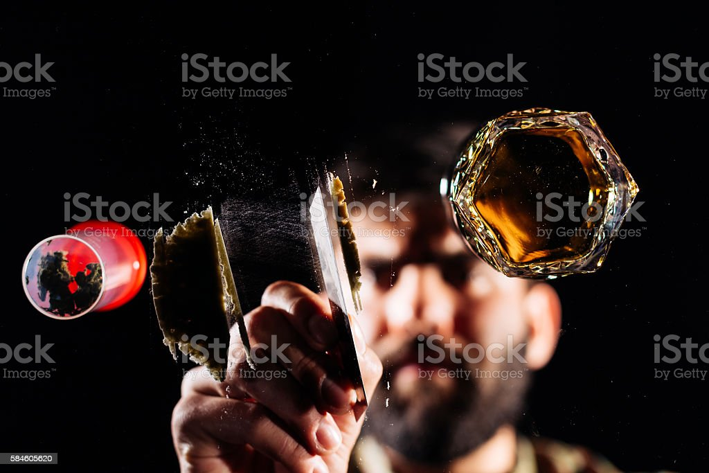 Man and cocaine stock photo