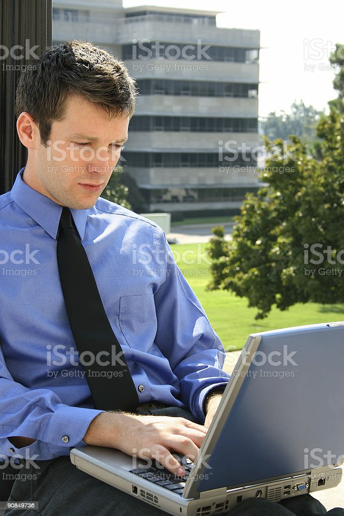 Man and Computer Downtown royalty-free stock photo