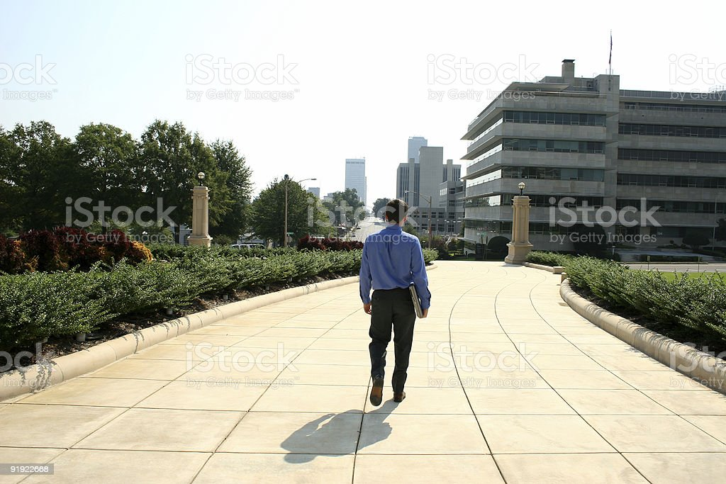 Man and Computer in City royalty-free stock photo
