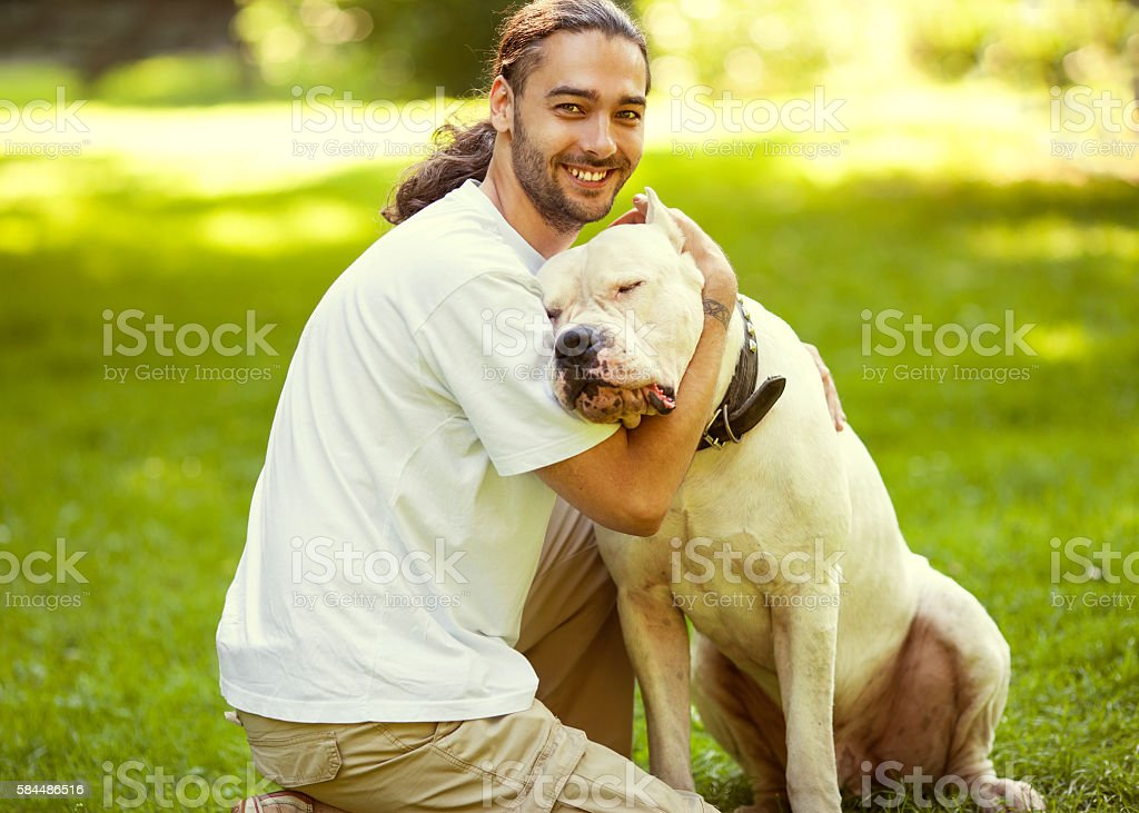 Man and  dog walk in the park. stock photo
