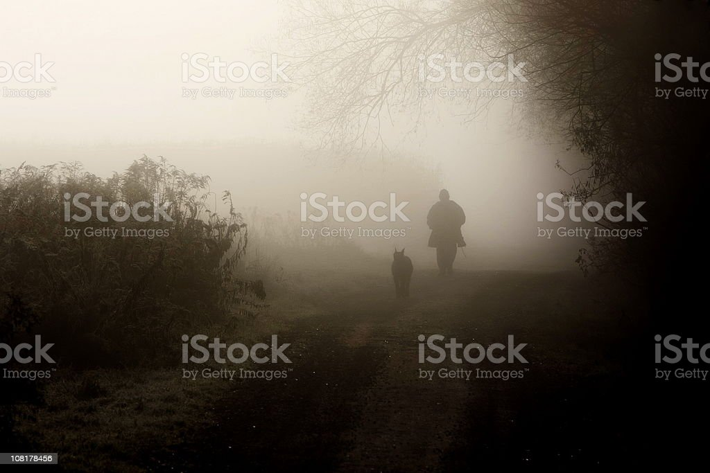 Man and Dog Walking Down Dirt Road in Fog royalty-free stock photo