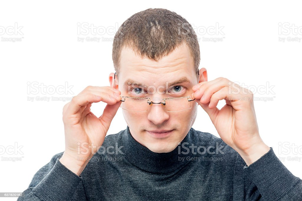 man and glasses, portrait on a white background in studio stock photo
