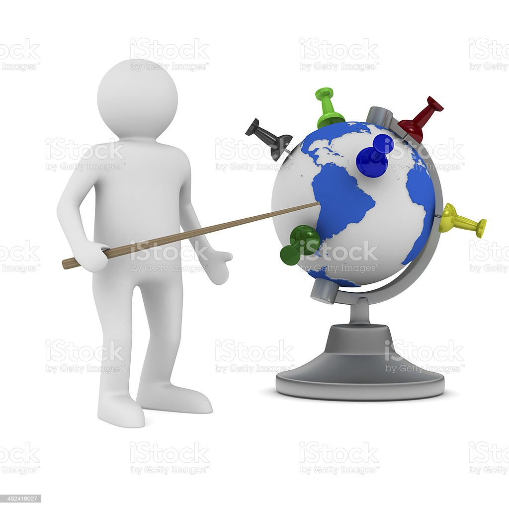 man and globe on white background. Isolated 3D image royalty-free stock photo