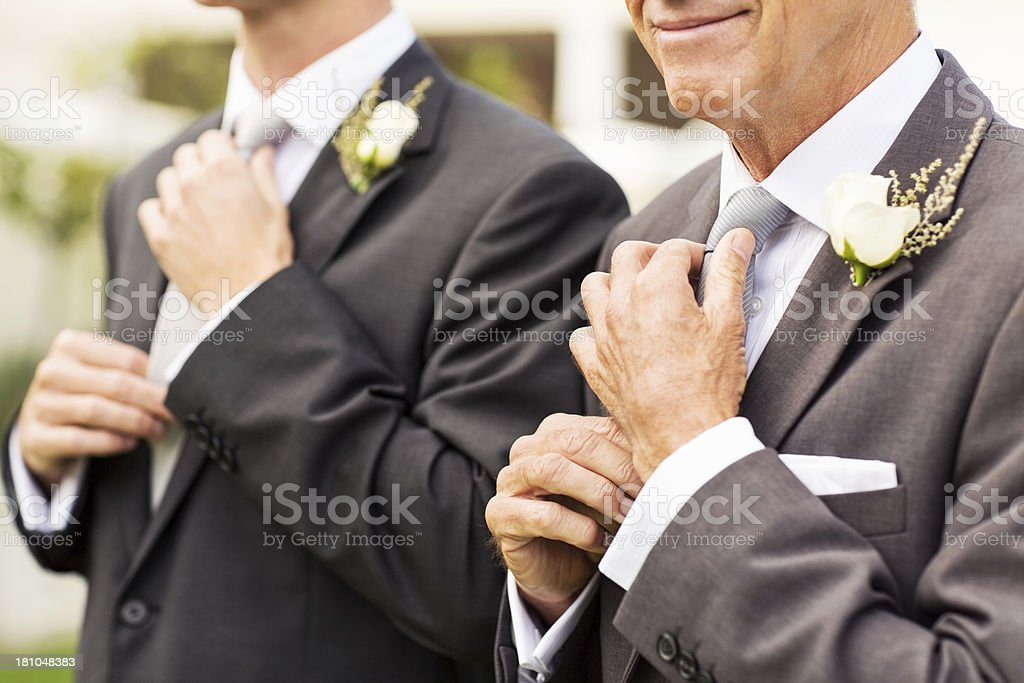 Man And Groom Adjusting Necktie In Garden royalty-free stock photo