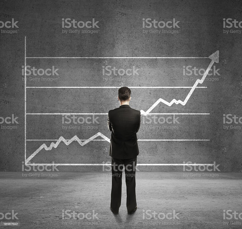 man and growth chart royalty-free stock photo