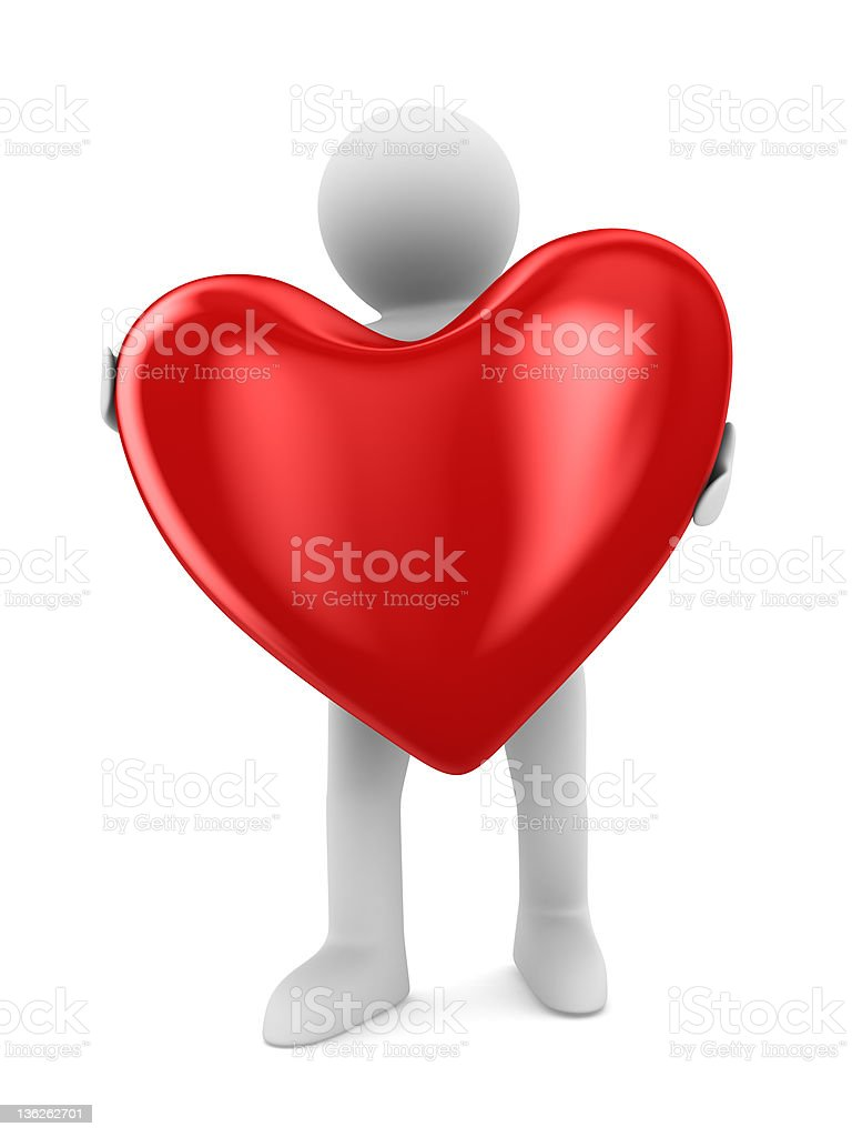 Man and heart on white background. Isolated 3D image royalty-free stock photo