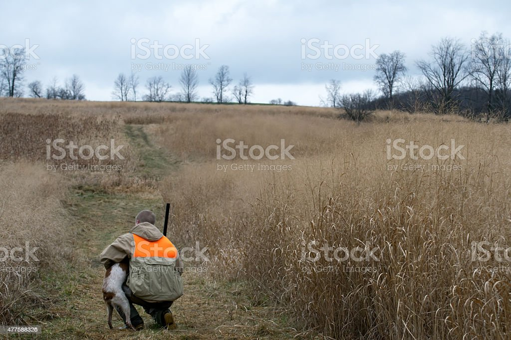 Man and His best friend hunting stock photo