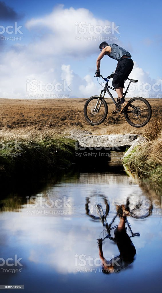 Man and his bike royalty-free stock photo