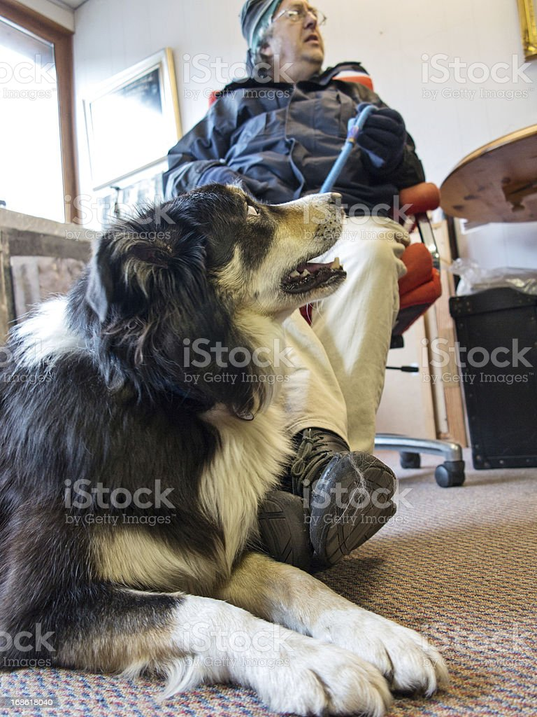 Man and his dog inside room royalty-free stock photo