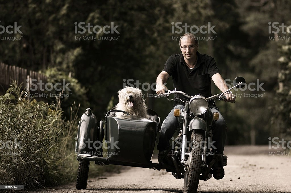 Man and his dog on motorcycle with side car stock photo