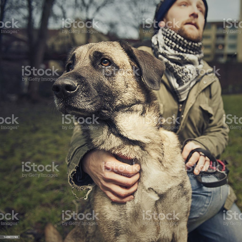 Man and his dog royalty-free stock photo